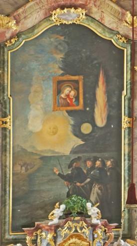 Hochaltarbild von Johann Jakob Zeiller: Das Wunder von Genazzano im Jahr 1466. Das Marienbild schwebt von Skutari in Albanien nach Genazzano, begleitet von Bewohnern von Skutari.